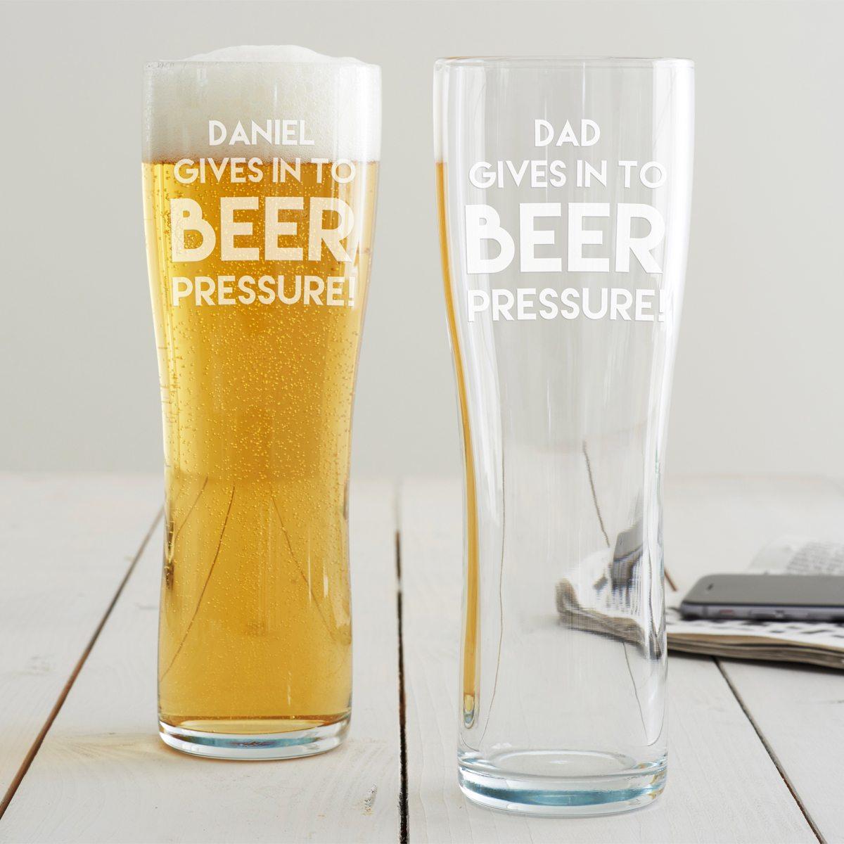 Personalised 'Beer Pressure' Pint Glass