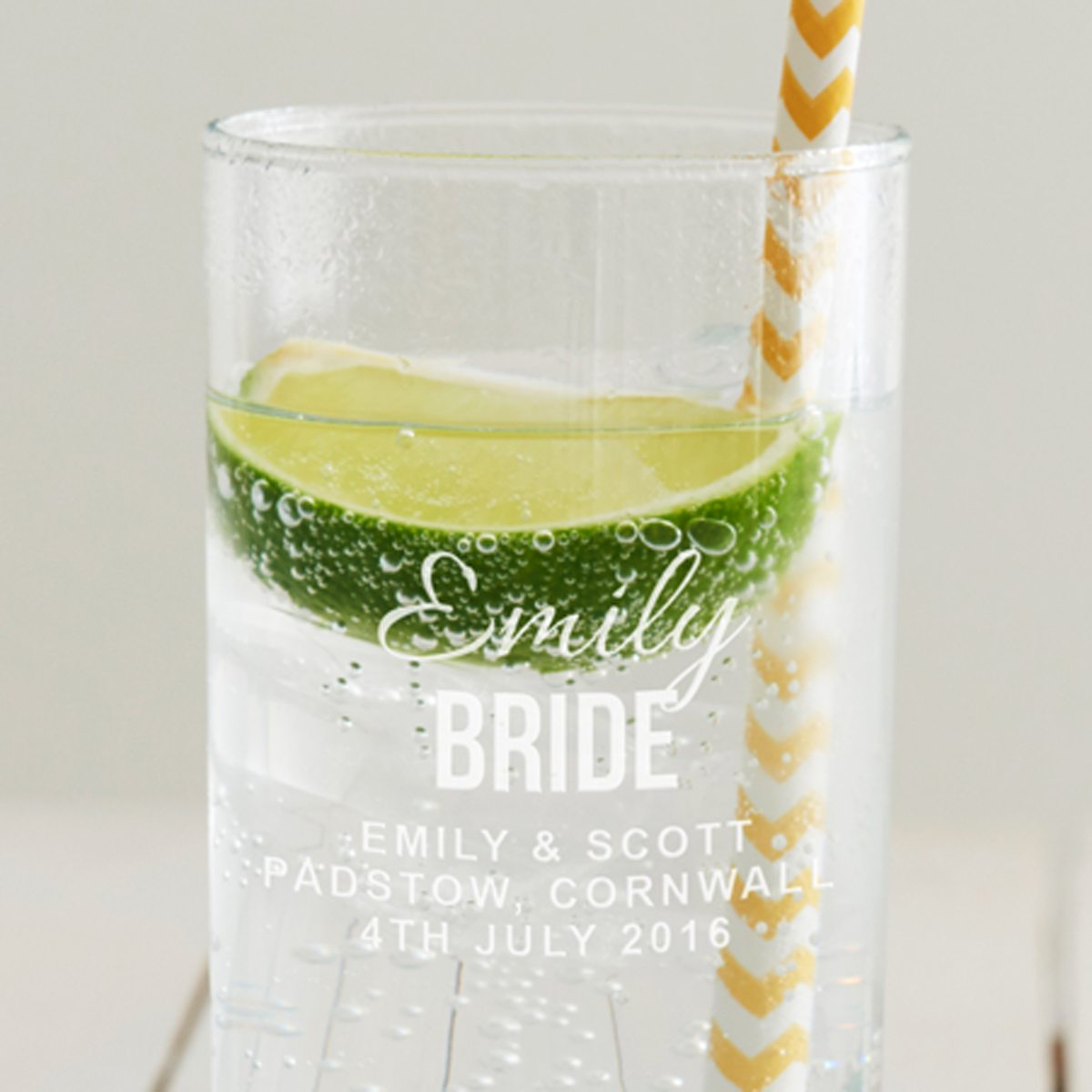 Personalised Bride Hi Ball Glass
