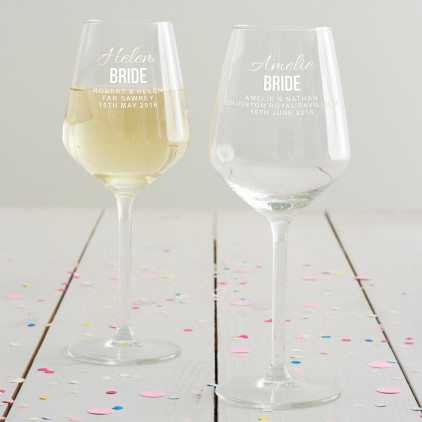 Personalised Bride Wine Glass