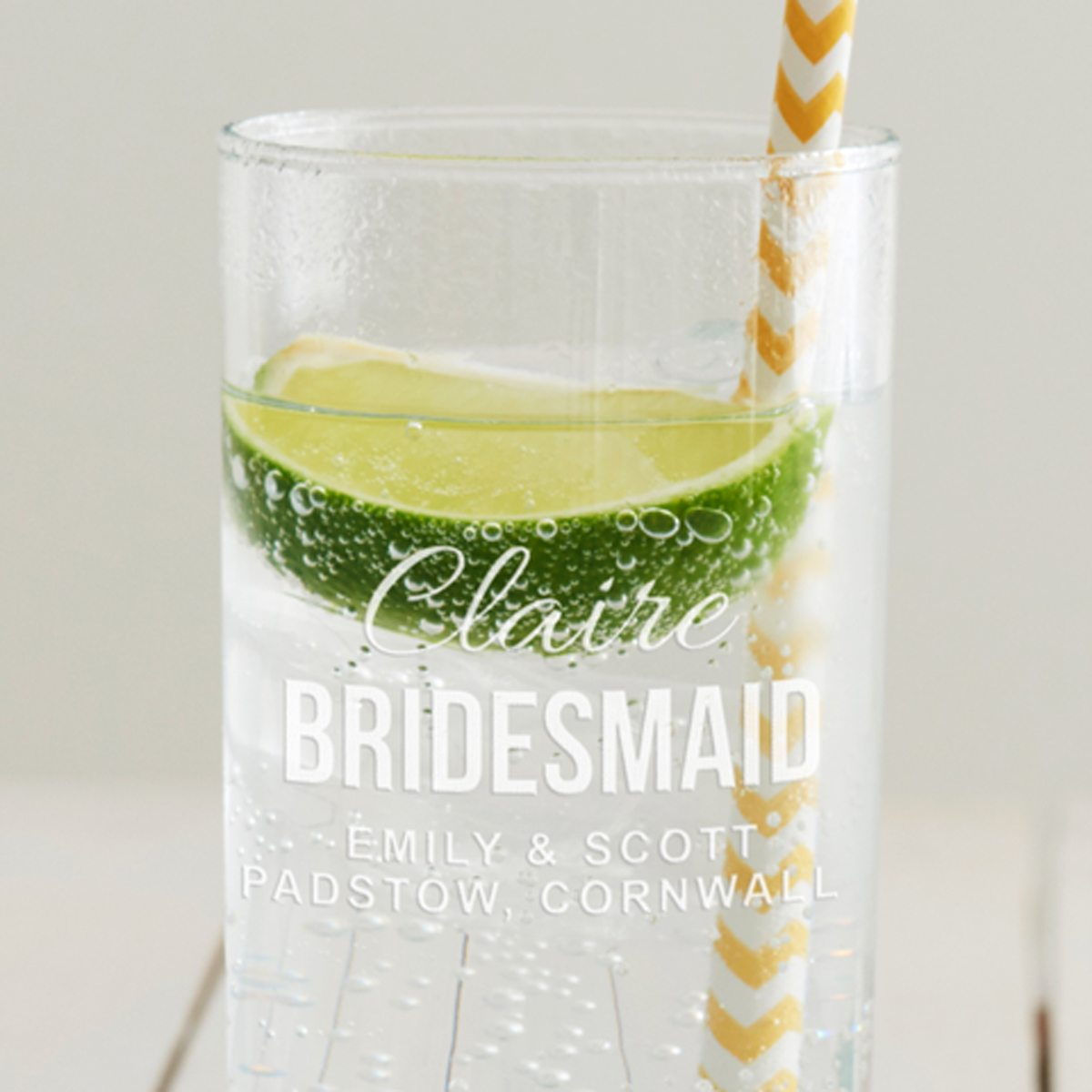 Personalised Bridesmaid Hi Ball Glass