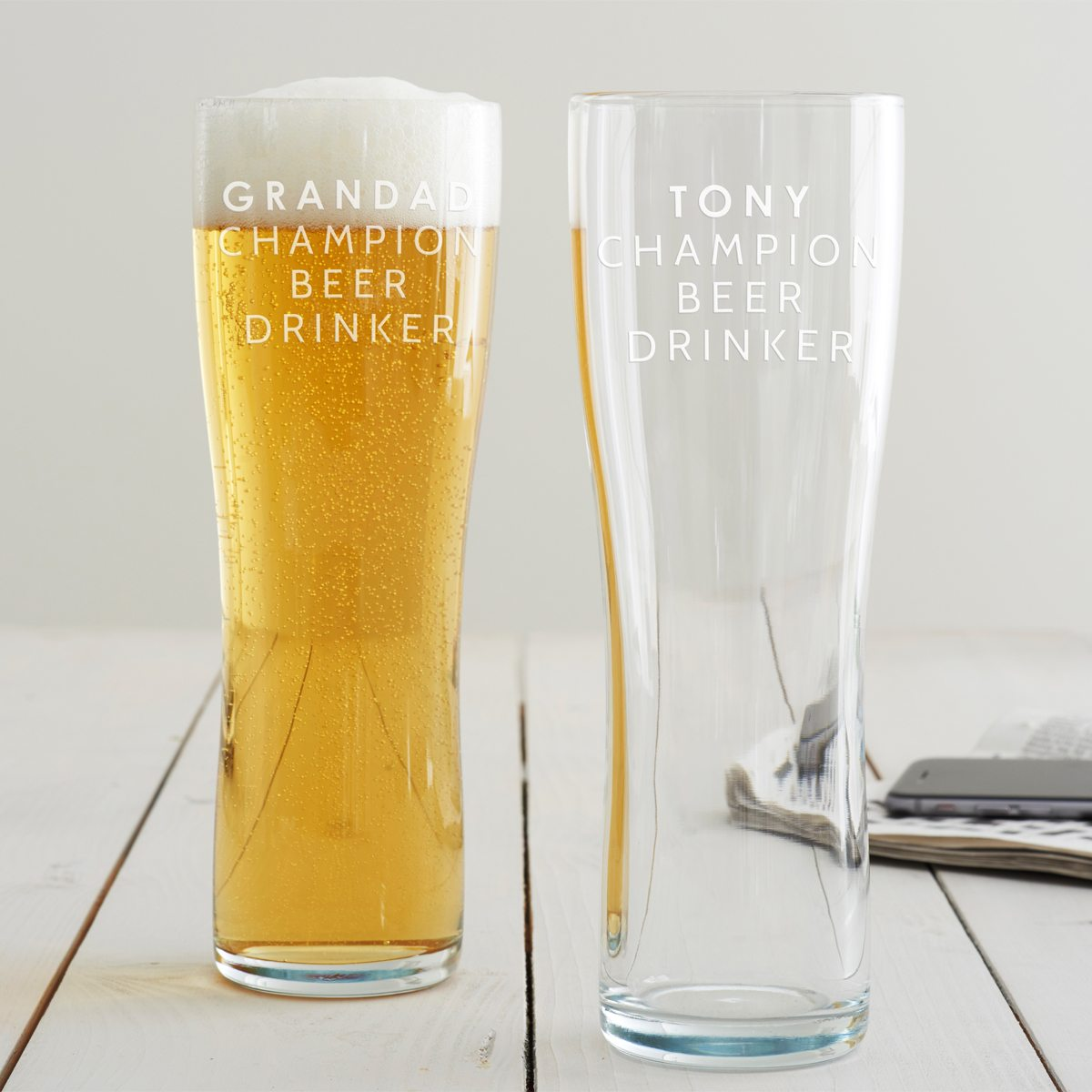 Personalised 'Champion Beer Drinker' Pint Glass