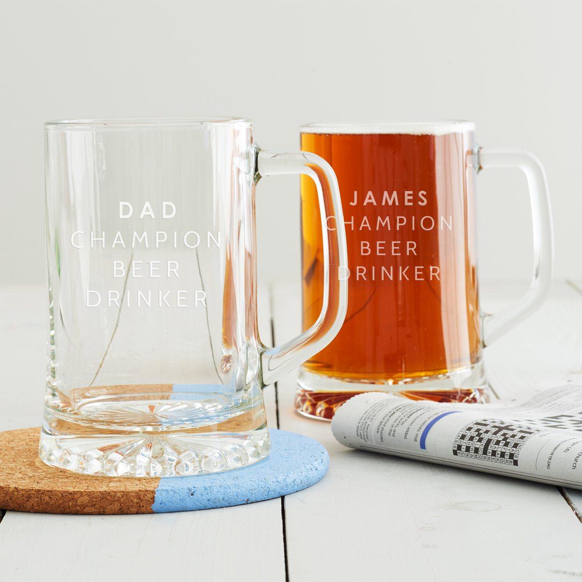 Personalised 'Champion Beer Drinker' Tankard