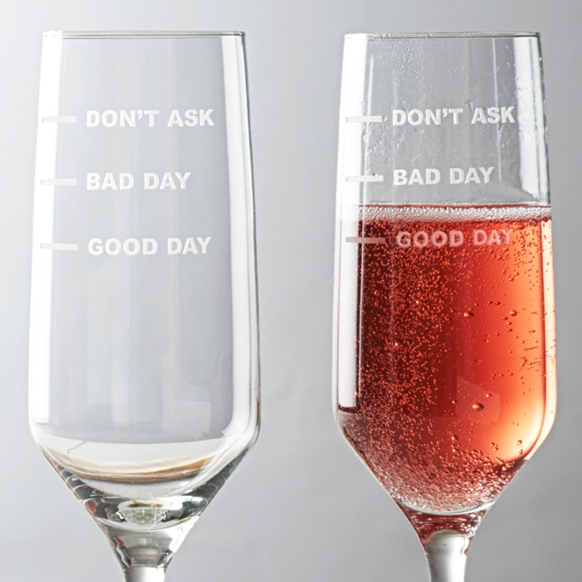 'Good Day, Bad Day, Don't Ask' Champagne Flute