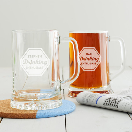 Personalised 'Drinking Enthusiast' Beer Tankard