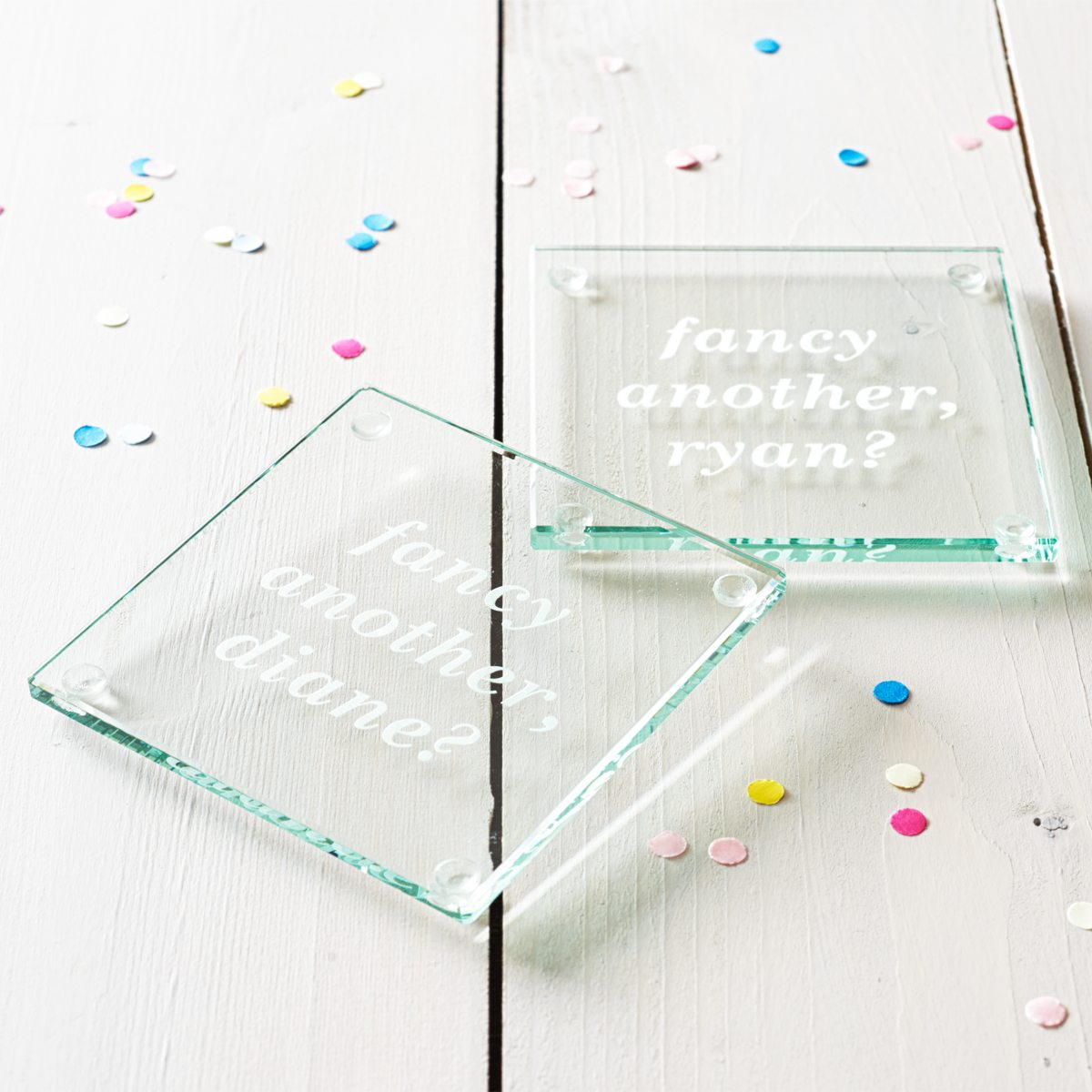 'Fancy Another?' Personalised Glass Coaster
