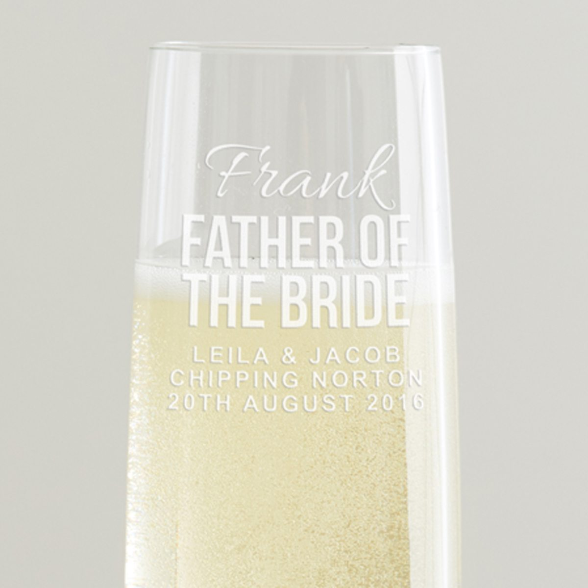 Personalised Father Of The Bride Champagne Flute