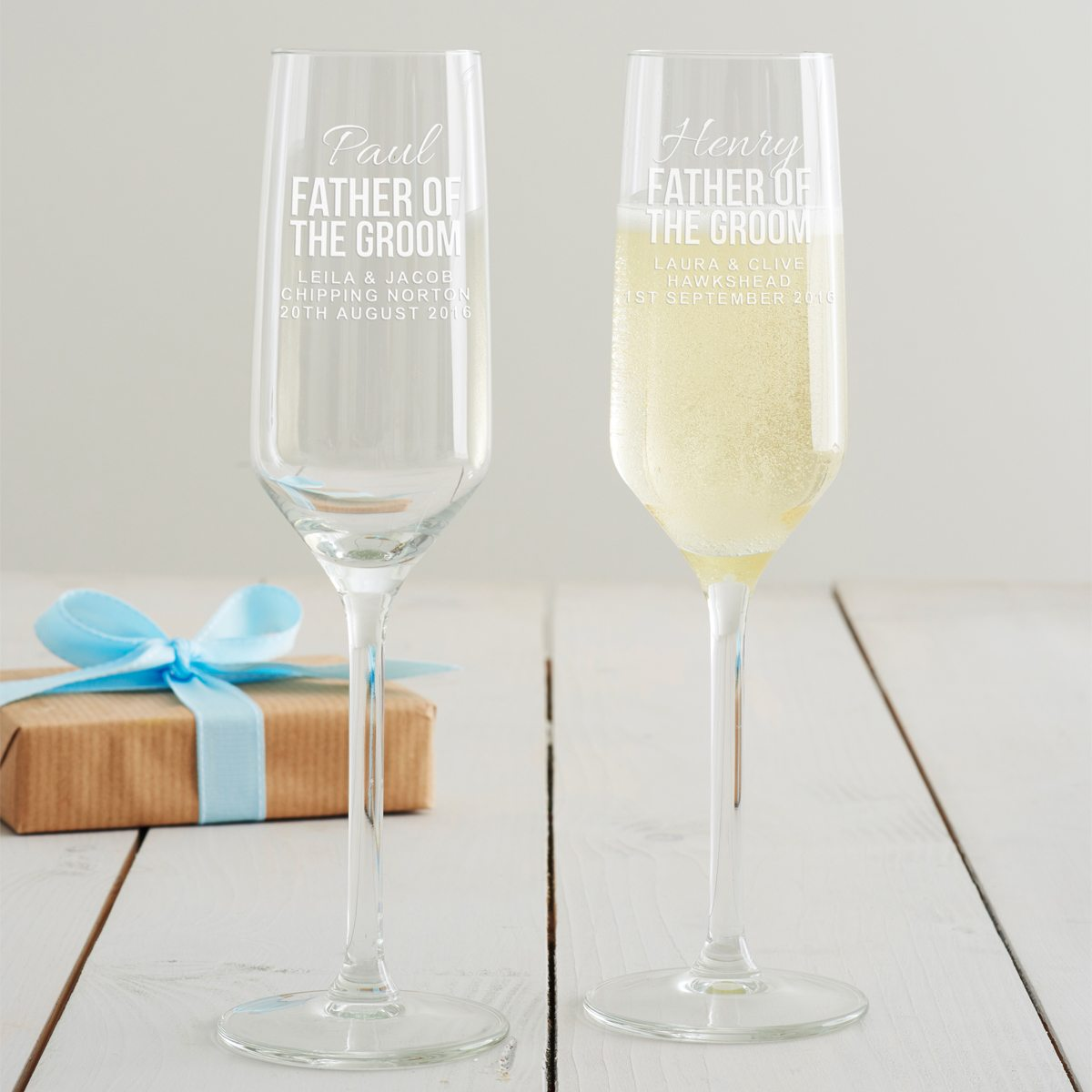 Personalised Father Of The Groom Champagne Flute