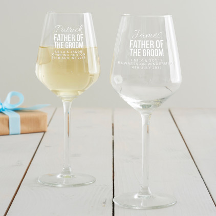 Personalised Father Of The Groom Wine Glass