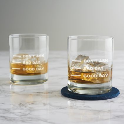 'Good Day Bad Day' Measures Whisky Glass