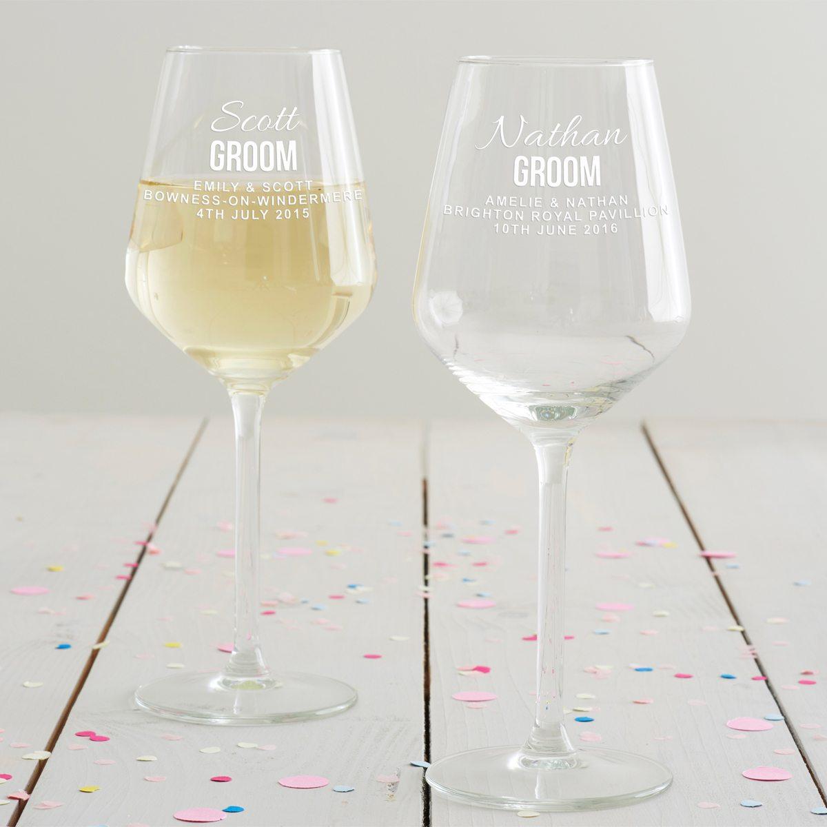 Personalised Groom Wine Glass