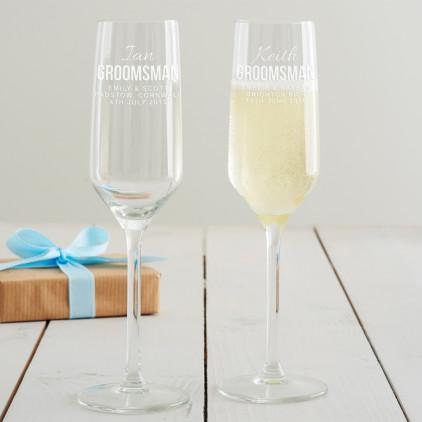 Personalised Groomsman Champagne Flute