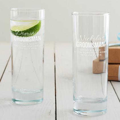 Personalised Groomsman Hi Ball Glass