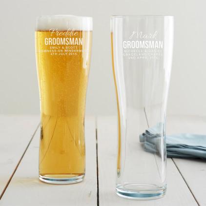 Personalised Groomsman Pint Glass