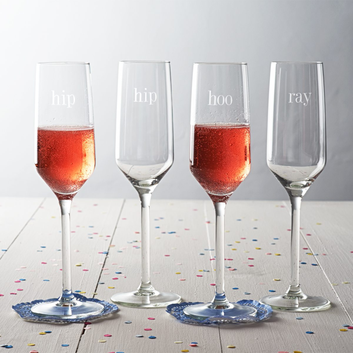 'Hip Hip Hooray' Champagne Glass Set