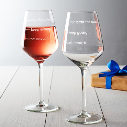 'Just Right For Mum' Wine Glass