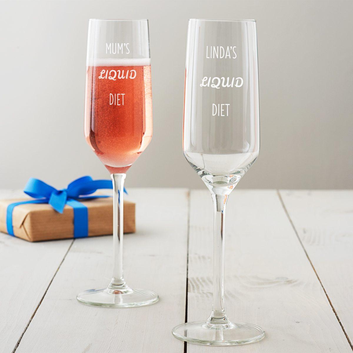 Personalised 'Liquid Diet' Champagne Flute
