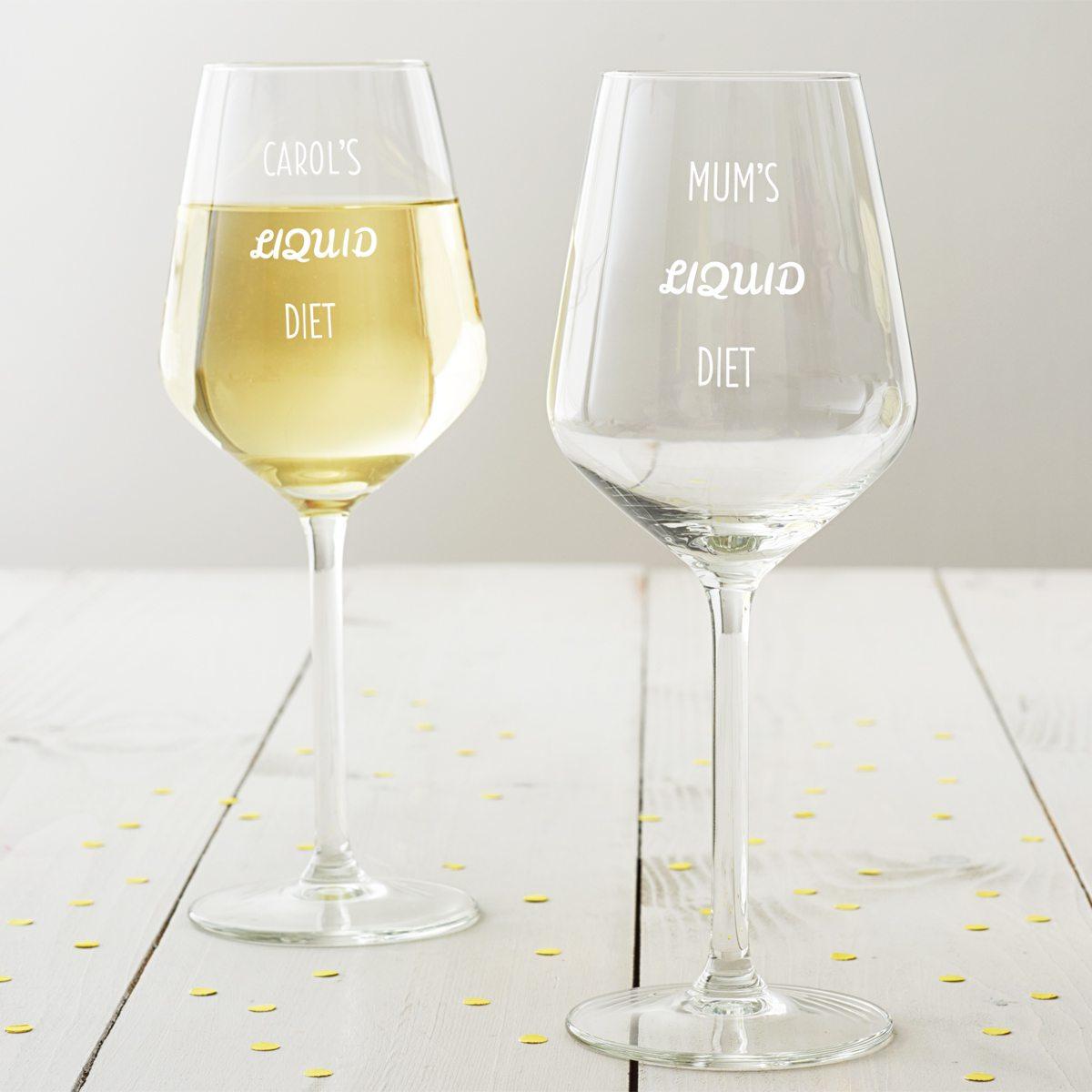 Personalised 'Liquid Diet' Wine Glass