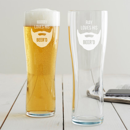 Personalised 'Loves His Beer'd' Pint Glass