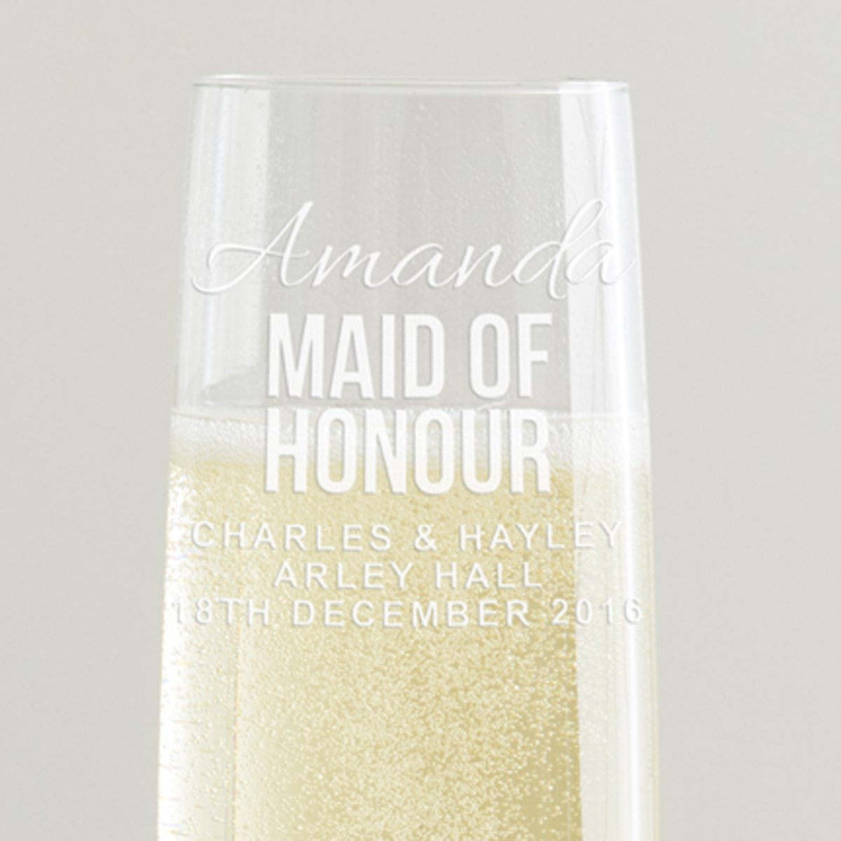 Personalised Maid Of Honour Champagne Flute