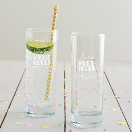 Personalised Maid Of Honour Hi Ball Glass