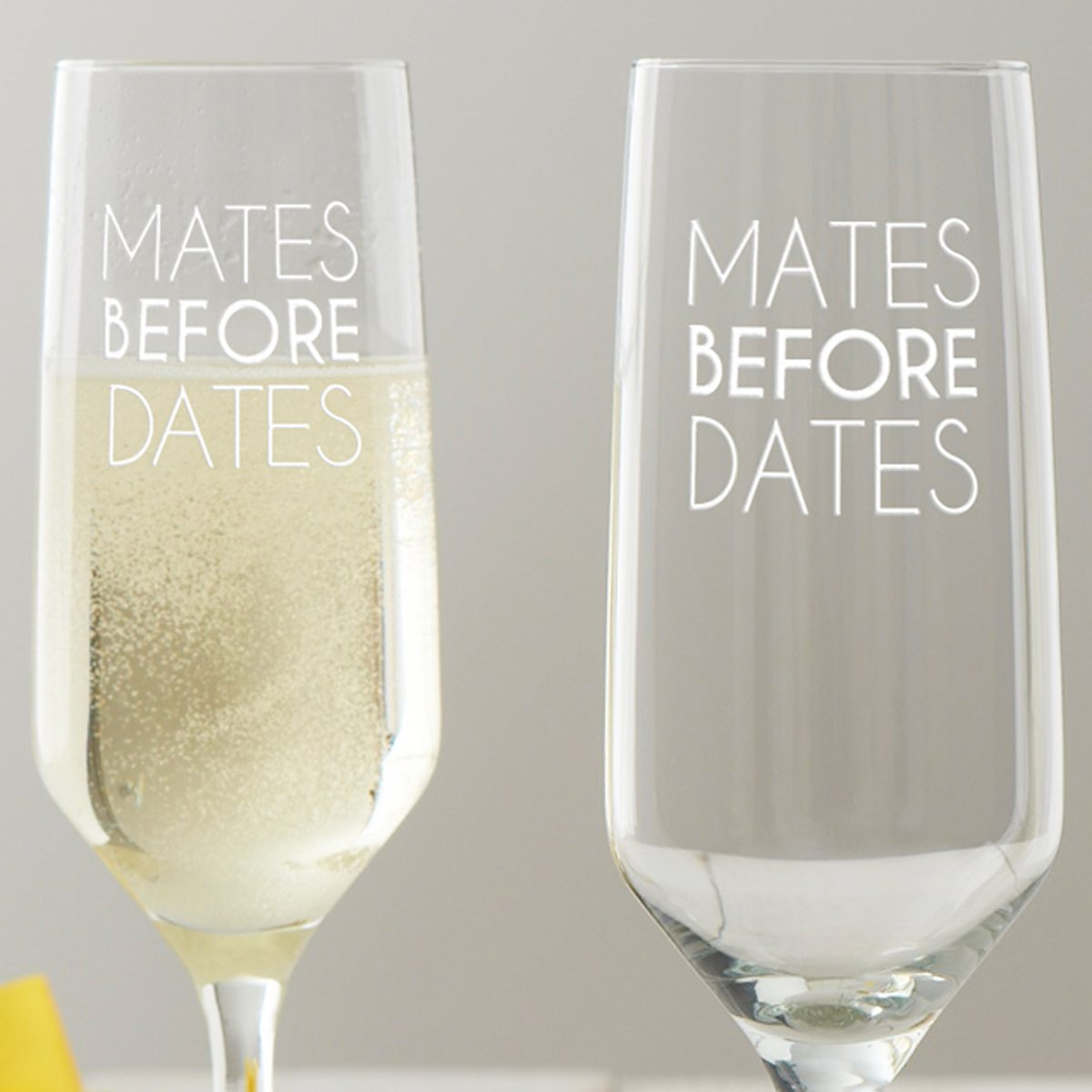 'Mates Before Dates' Champagne Glass