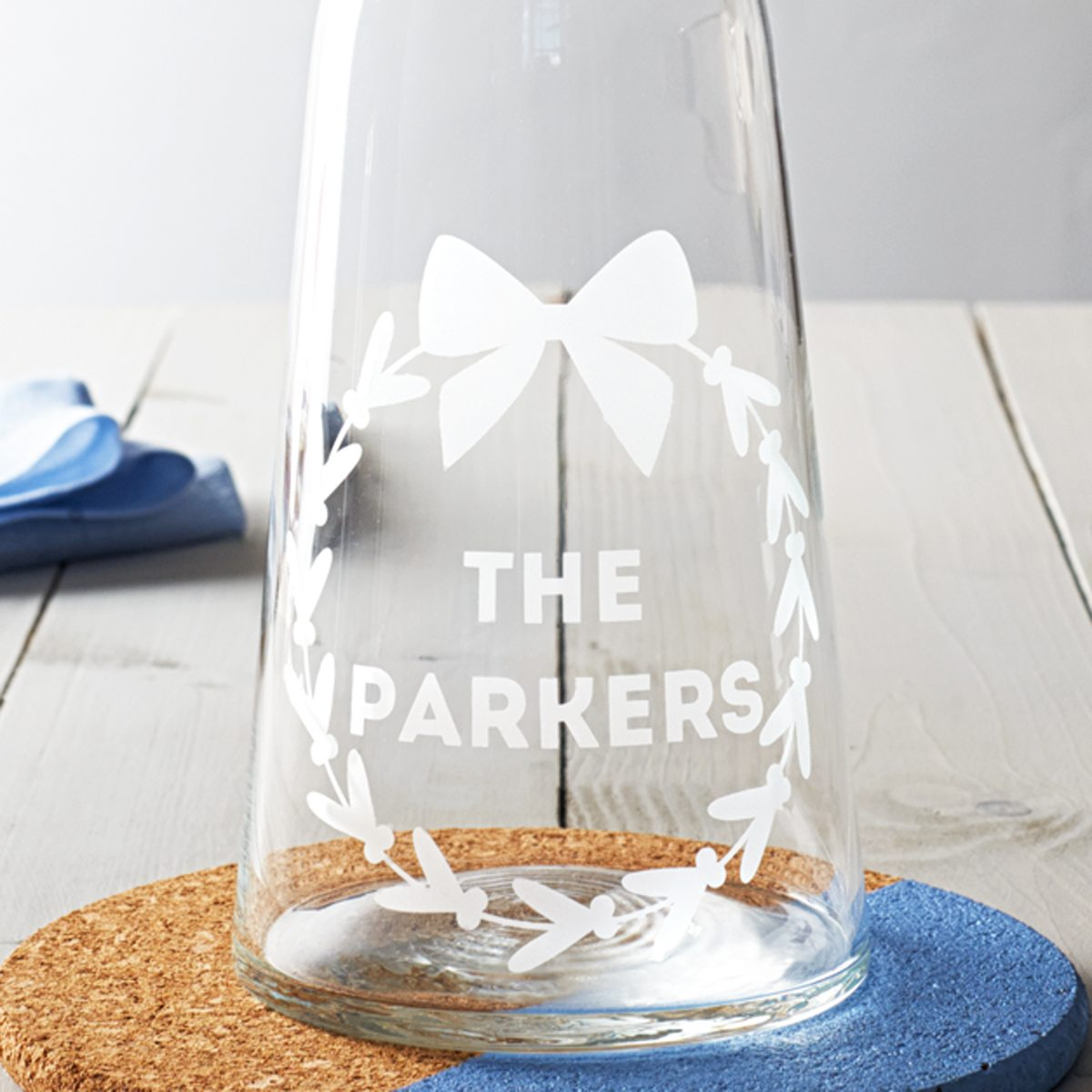 Personalised Mistletoe Wreath Carafe