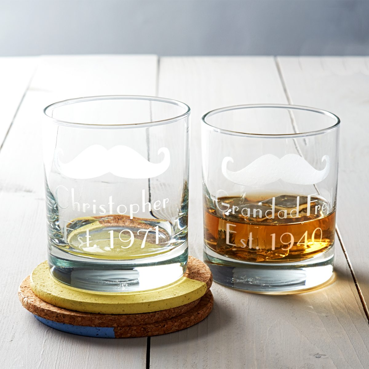 Personalised 'Moustache' Whisky Glass