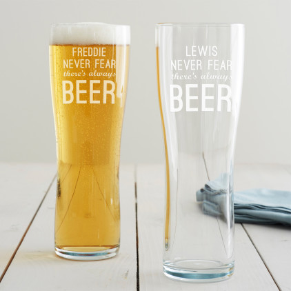 Personalised 'Never Fear' Pint Glass
