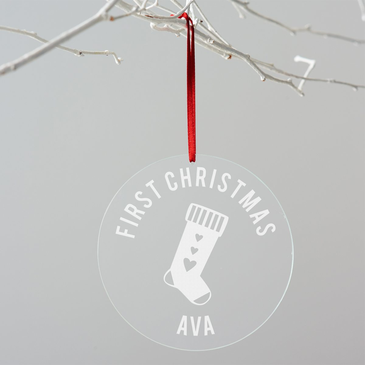 Personalised First Christmas Stocking Decoration