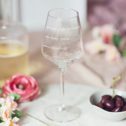 Personalised Just Right For Mum Wine Glass Lifestyle