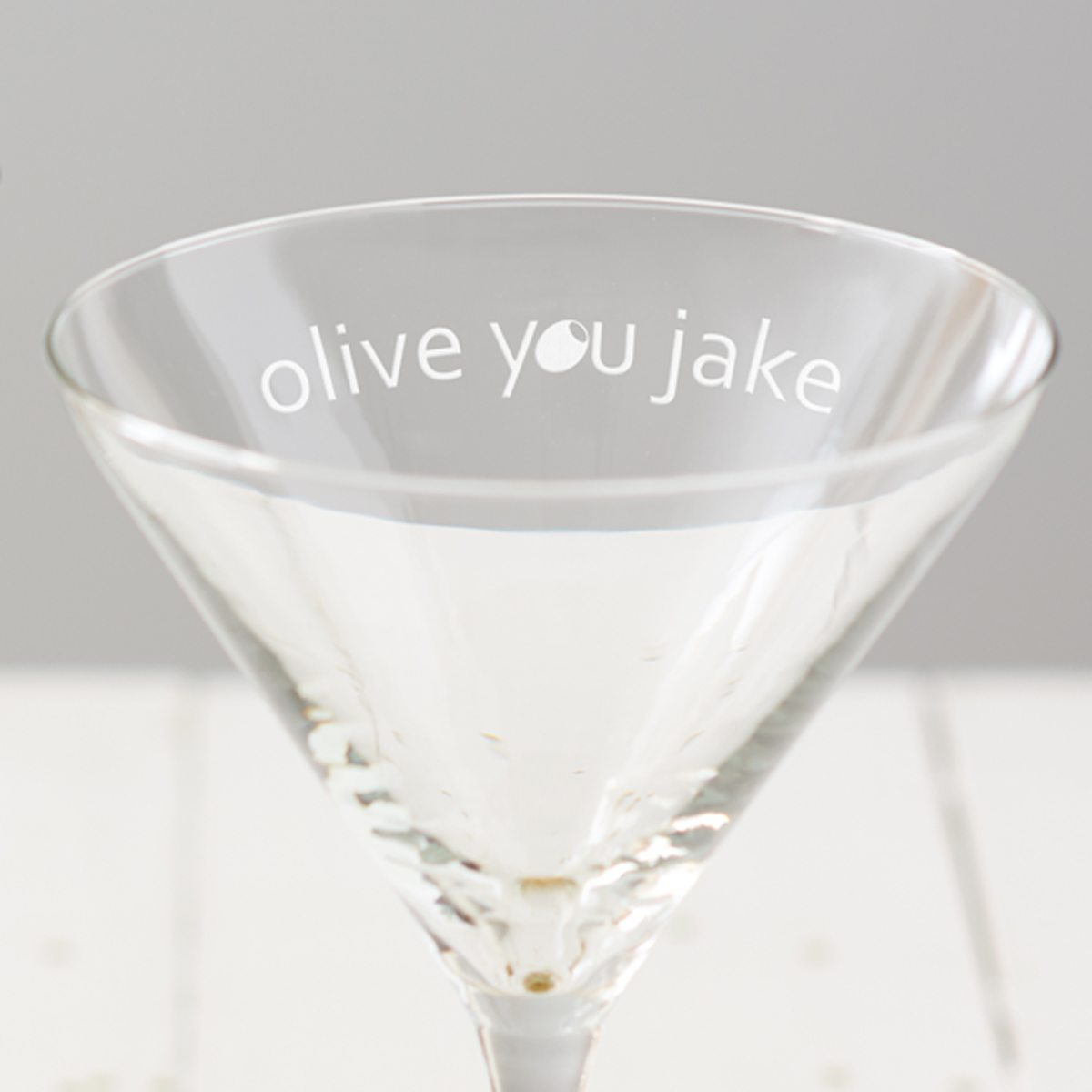 Personalised 'Olive You' Martini Glass