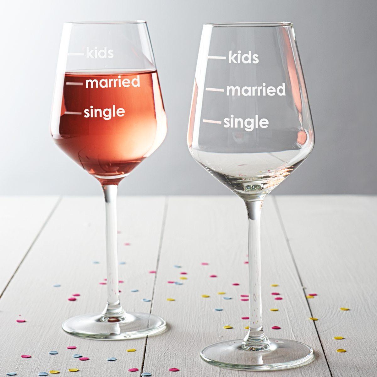 'Single, Married, Kids' Measures Wine Glass