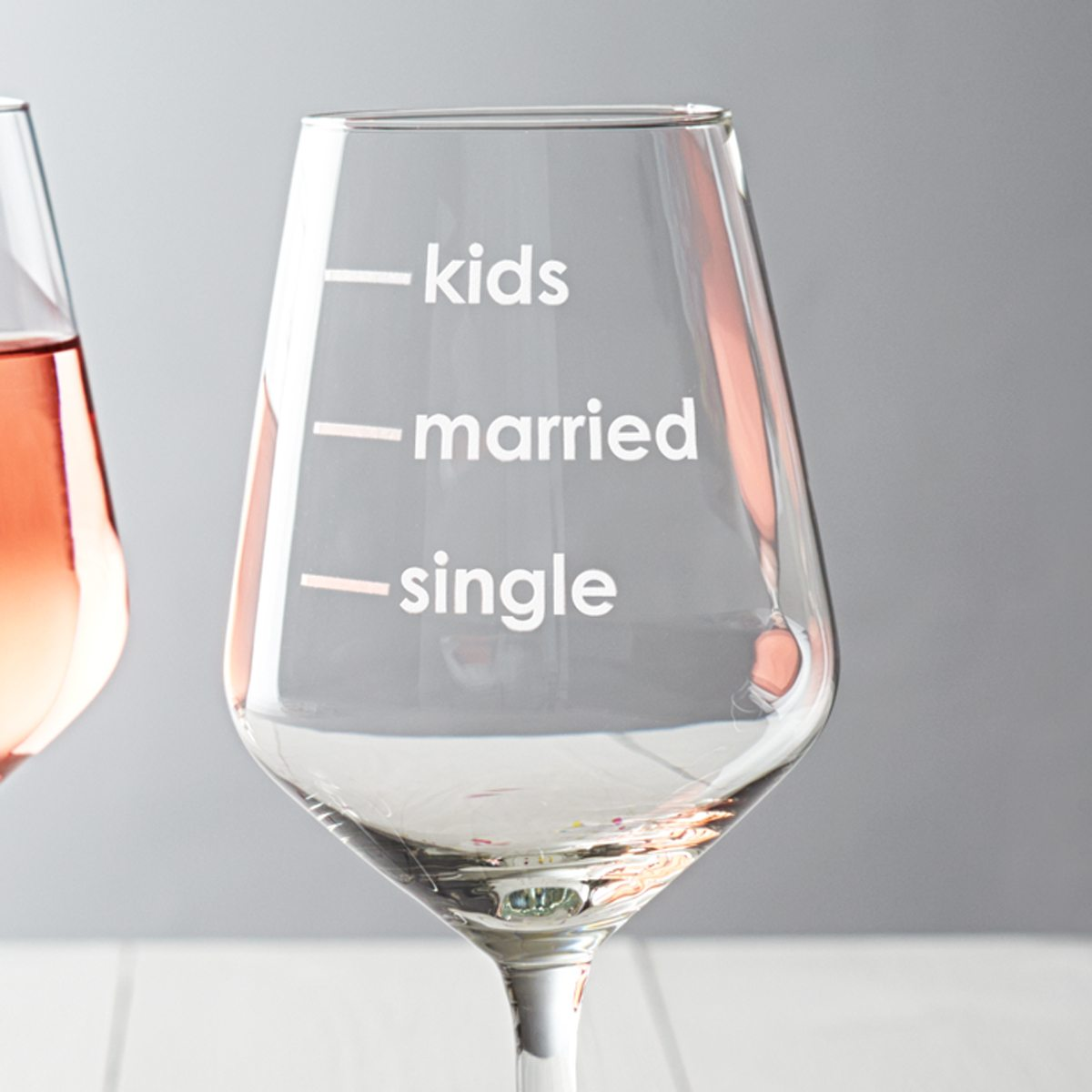 'Single, Married, Kids' Measures Wine Glass