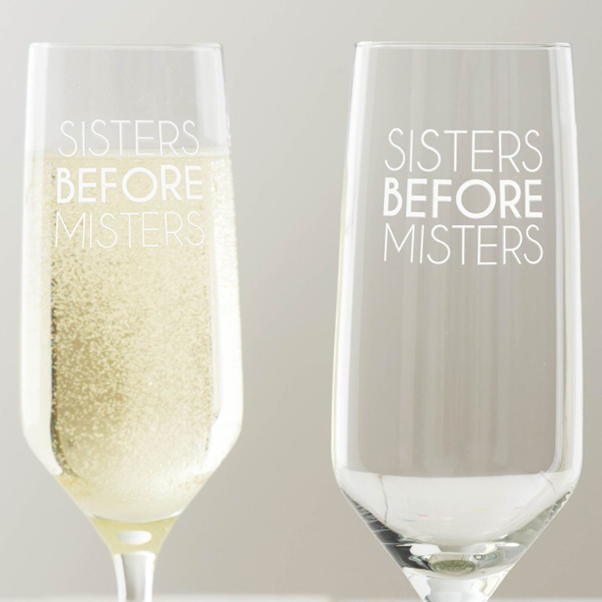 'Sisters Before Misters' Champagne Glass