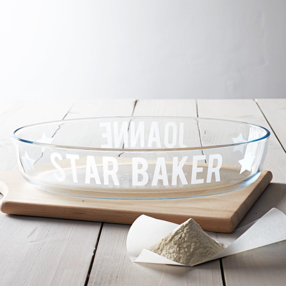 Personalised 'Star Baker' Glass Dish
