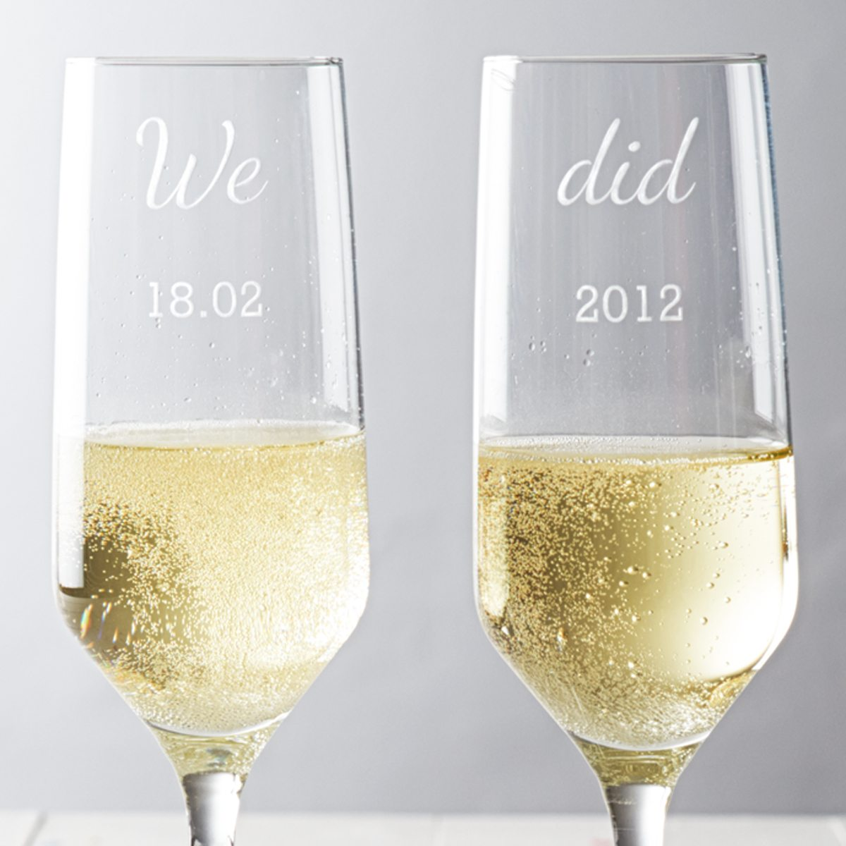Personalised 'We Did' Anniversary Champagne Glass Set