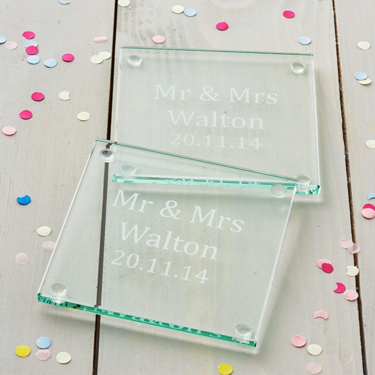 Personalised Wedding Gift Coaster Set