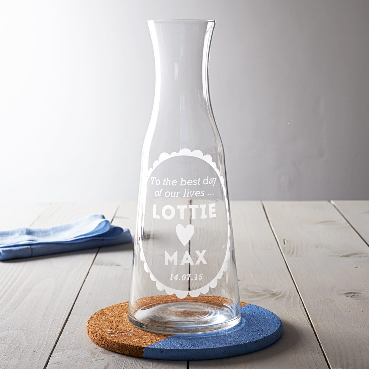Personalised Wedding Wine Carafe