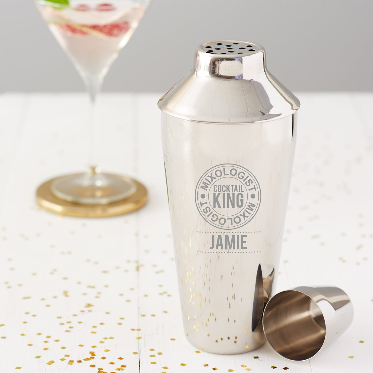 Personalised 'Cocktail King' Motif Shaker