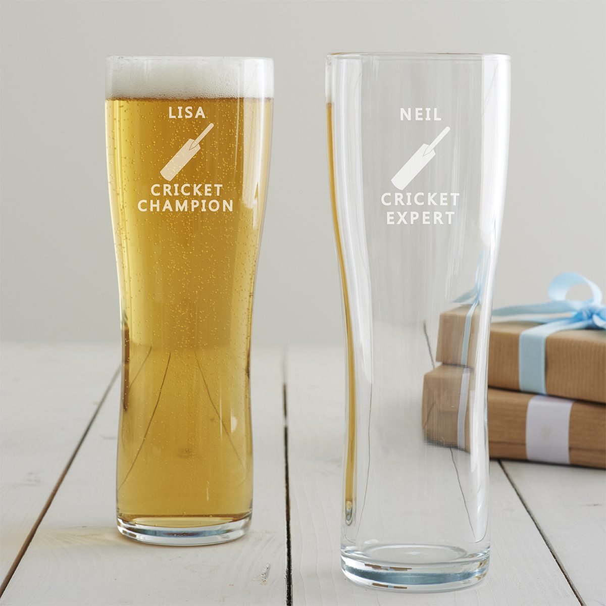 Personalised Cricket Pint Glass