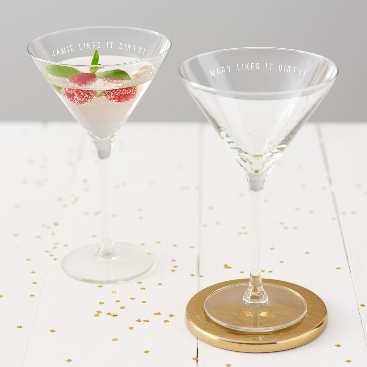 Personalised 'Likes It Dirty' Martini Glass