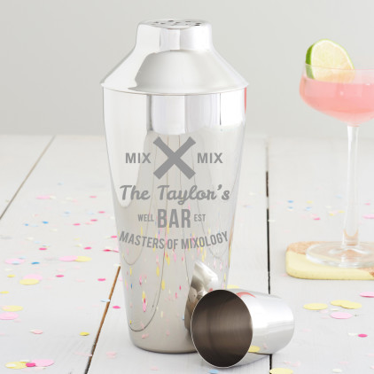 Personalised 'Masters Of Mixology' Cocktail Shaker