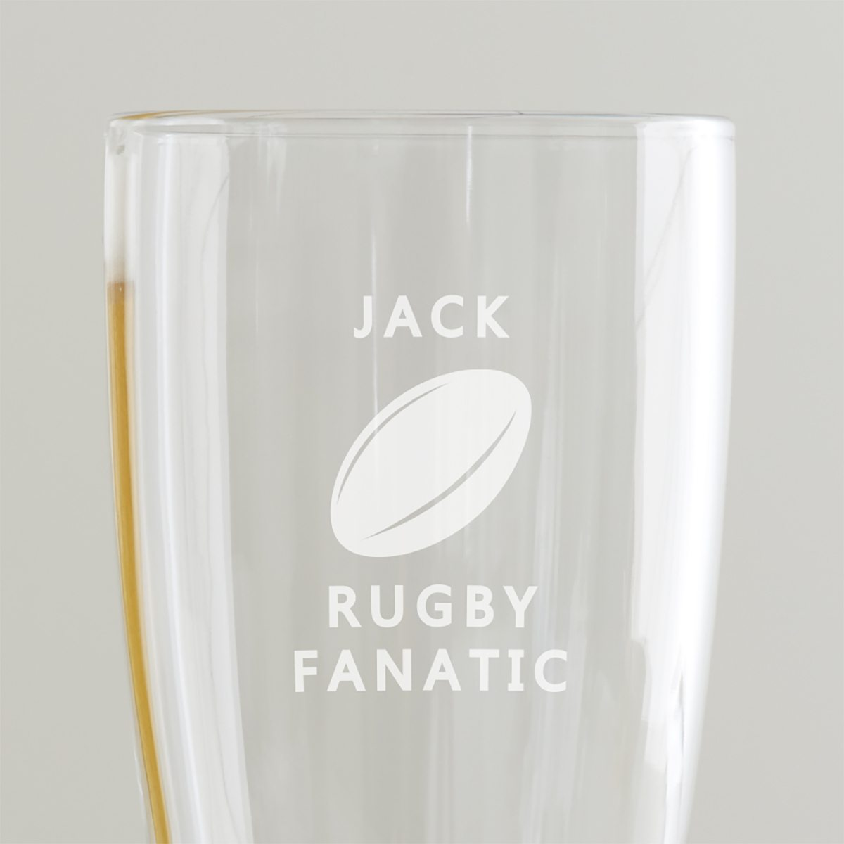 Personalised Rugby Pint Glass