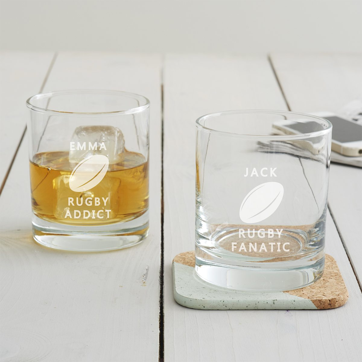 Personalised Rugby Tumbler Glass