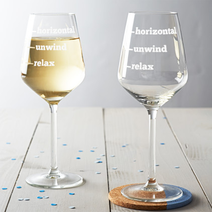 'Relax, Unwind, Horizontal' Wine Glass