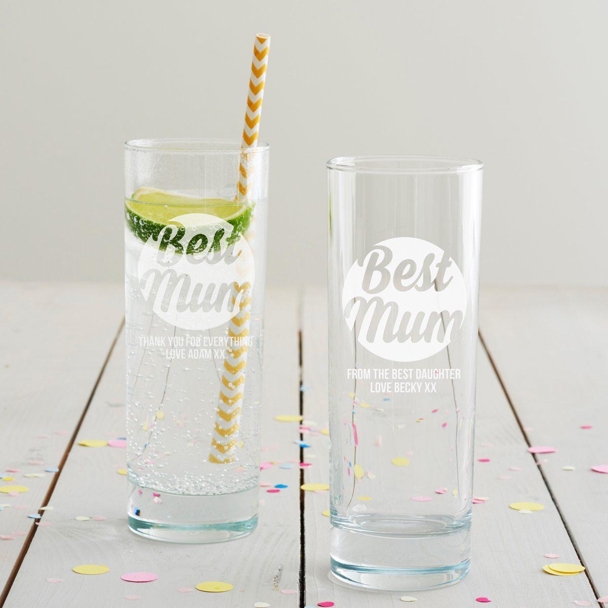 Personalised 'Best Mum' Hi Ball Glass