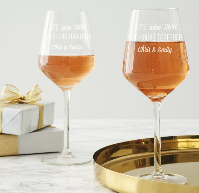 Couple's 'Wine Away' Personalised Wine Glass