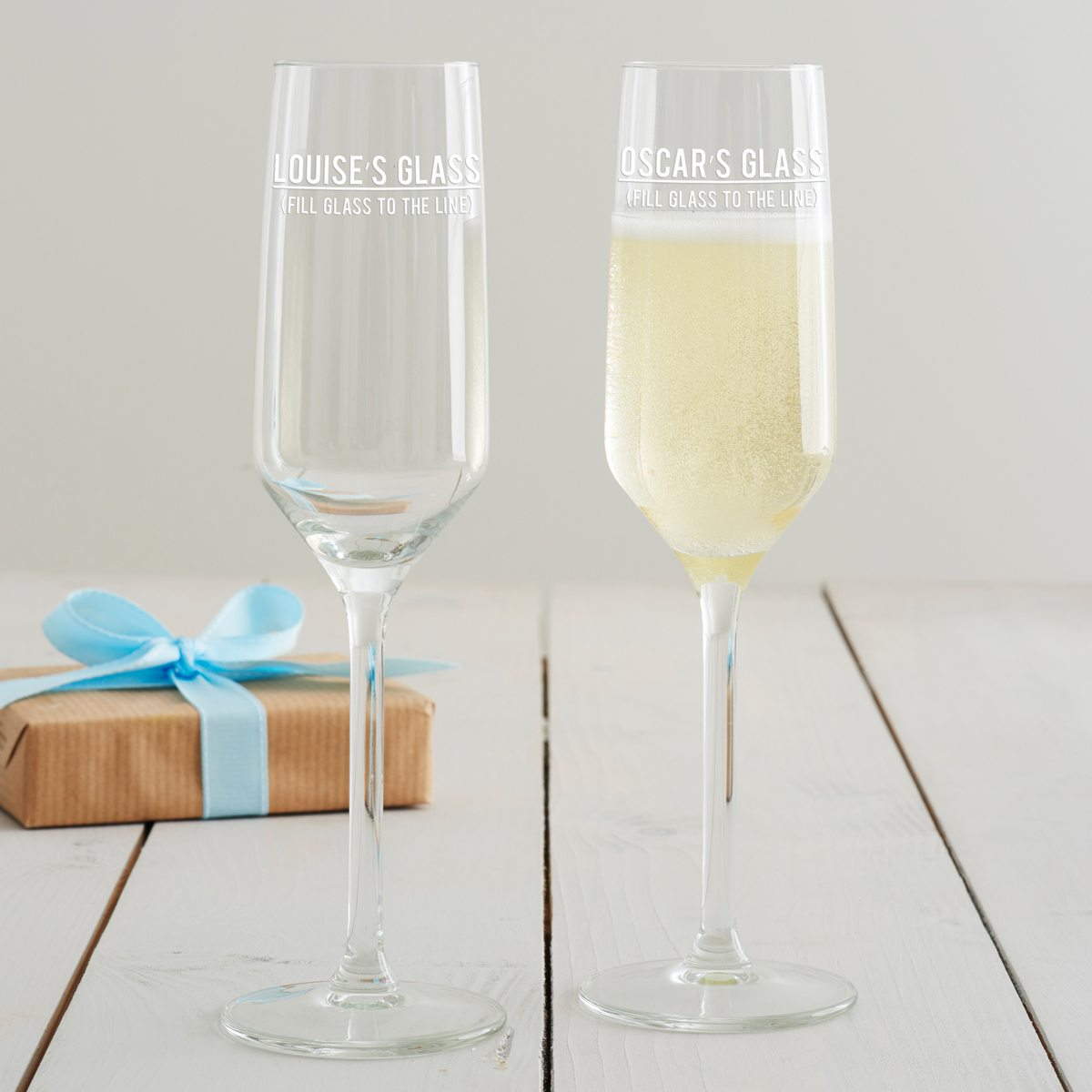 Personalised 'Fill To The Line' Champagne Flute
