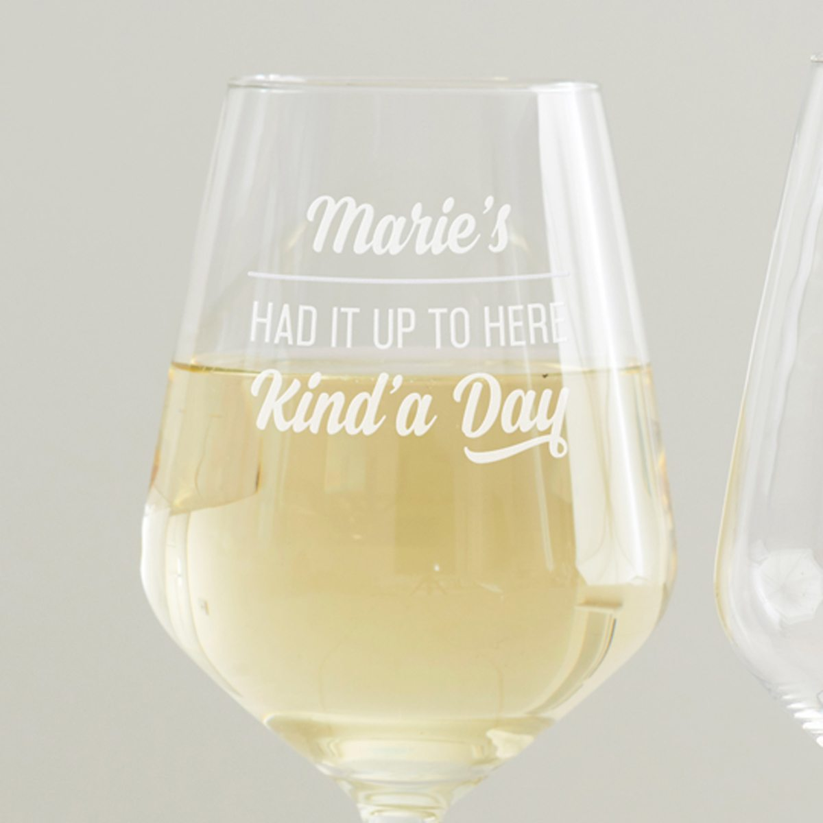 Personalised 'Had It Up To Here' Wine Glass