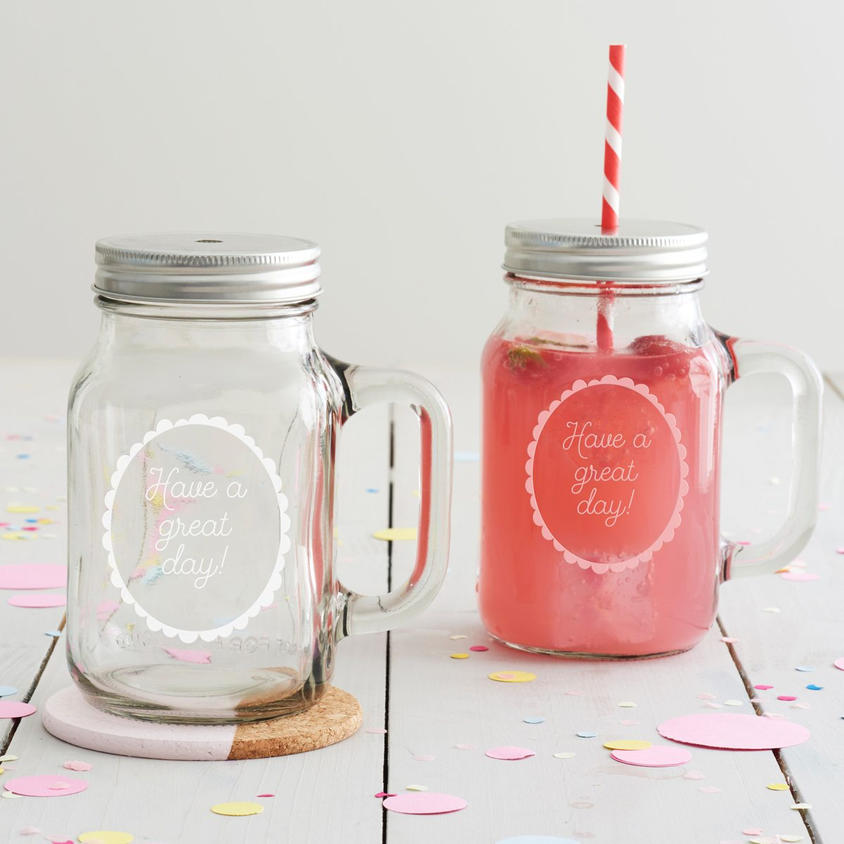 'Have A Great Day' Handled Drinking Jar